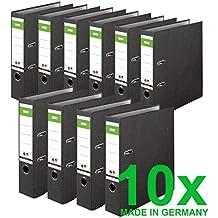 Original DINOR Ordner-Wolkenmarmor-Recycling - Made in Germany. 10er Pack 8 cm breit DIN A4 schwarz Aktenordner Briefordner Büroordner Pappordner Schlitzordner Grüner Balken Blauer Engel