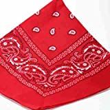 RED bandana scarf black white paisley on both sides
