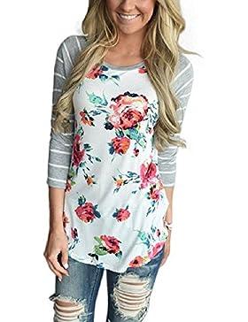 Minetom Mujer Cuello Redondo Floral De Empalme De Impresión Camiseta Manga 3/4 Pullover Blusa Gris y Blanco Rayas...
