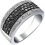Sterling Silver Black or Blue Diamond Ring (3/4 CT)