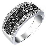 Vir Jewels, Anillo De Mujer 925 Plata Con Negro Diamante 0.75 CT, Talla del Anillo 14