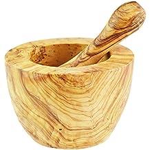 Mortero y pilón de madera de olivo, soporte plano, color grano/natural