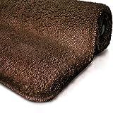 Tapis de bain marron | certifié Oeko-Tex 100 et lavable | poil très doux | plusieurs tailles au choix - 80x150cm