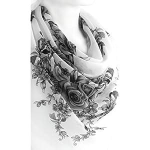 Weiß Schwarz Elegant Schal Für Frauen Weiche Baumwolle Große Quadratische Blumendruck Kopftücher Halstücher 96 x 96 cm. Frühling Sommer
