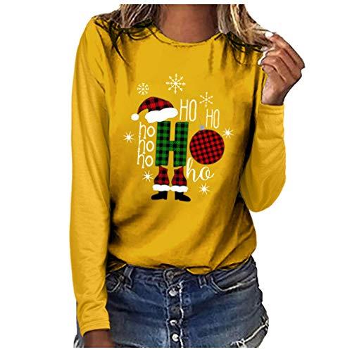 Binggong Weihnachtspullover Xmas Print Pullover Damen Oversize Sweatshirt Weihnachten Langarm Tunika Tops Santa Claus Weihnachtsbaum Winterpullover