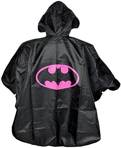 Batgirl Kinder Regenponcho Cape Schwarz - Einheitsgröße Umhänge - Regen Poncho Superheroes mit Kaputze Batman Mädchen Regenmantel für Superhelden - King Mungo - (Superhelden Schwarze Cape)