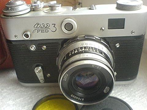 FED-3 URSS Union Soviétique 35mm Leica Copy Film en étui en cuir d'origine