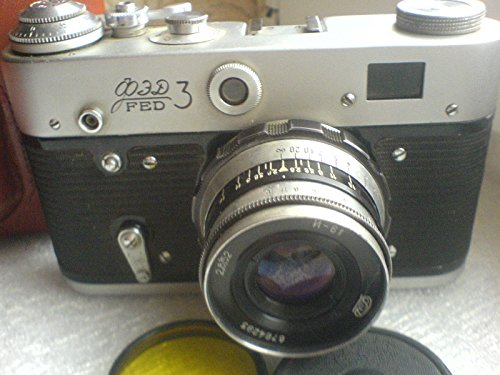 FED-3 UdSSR Sowjetunion Russisch RF 35mm Leica Kopier-Film-Kamera in Original-Leder-Etui