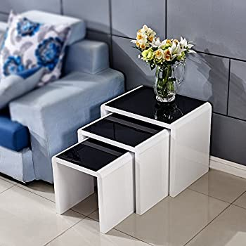 Tason White High Gloss Nest Of 3 Coffee Table With Black Tempered Glass  Top, Side