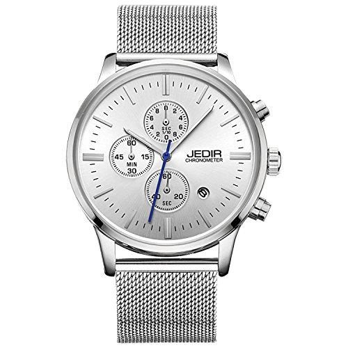 JEDIR Herren Uhren Chronograph Uhr Silber Analog Quarzuhr klassisches Einfaches Design mit Datum Anzeige und Milanese Mesh Band