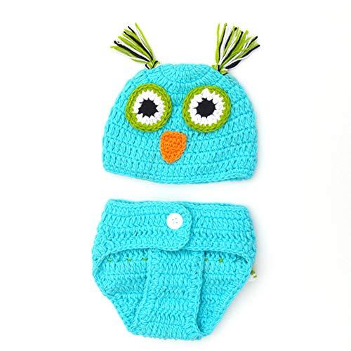 Aru Neugeborenen Fotografie Requisiten Baby Cute Crochet Owl Outfits Kostüm Set, Blau