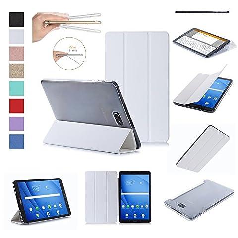 ISIN Housse pour Tablette Série Premium PU Cuir Smart Coque Étui pour Samsung Galaxy Tab A 10.1 SM-T580N T585N Android 6.0 Marshmallow Tablet (Blanc)