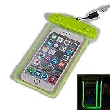Universal Wasserdichte Tasche, Keyihan Luminous Leuchtend Wasserdicht Staubdichte Handy Hülle für Apple iPhone 8/7/7 Plus/ 6/6S/Plus/5/5S/5C/SE,passend für alle Smartphone bis 6 Zoll (Grün)
