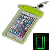 Hamyi Universal Lumineux étanche Pochette Avec Lanière,Transparente et Fluorescente Etui Housse pour Apple iPhone 6/6s, iPhone 6/6S Plus, iPhone 5S 5C 5, Samsung Galaxy S7,S6, S6 Edge S5, Note 5/4/3/2/, Fits All Smartphones Jusqu'à 6 pouces Diagonale (Vert)