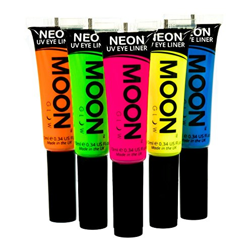 Moon Glow - Eyeliner per la luce Neon UV10mlSet di 5 colori -produce un'incredibile brillantezza sotto l'illuminazione UV/luci scure