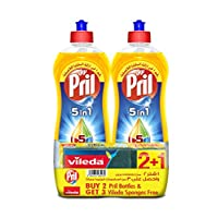 Pril 100 Lemons Power Dishwasing Liquid 1 Liter Twin Pack + Scotch-Brite Sponge