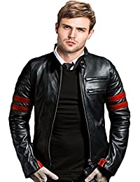 ATC PU Leather Full Sleeve Jacket For Men's 40 (Black,Red)
