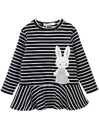 Ropa Bebé, Amlaiworld Niñas bebé bordado a rayas conejo Vestido de princesa Ropa de trajes 2-6 Años