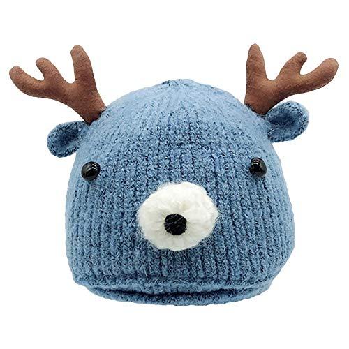 Tonsee Baby Mütze Beanie, Winter Jungen Mädchen Hut Tiere Design Soft Wollene Hüte Kinder Cap Unisex Einfabrig und Streifen (Blau2)
