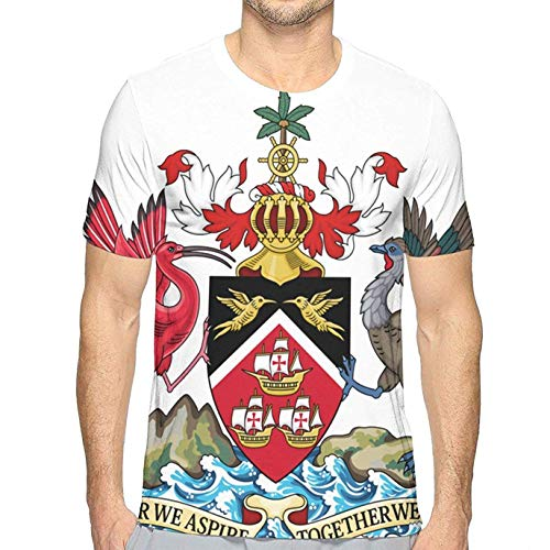 goodsale2019 Trinidad und Tobago National Emblem Herren Sommer Rundhals T Shit für Herren -