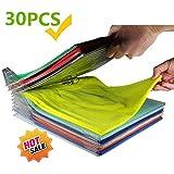 Nifogo Closet Organizer and Shirt Folder, Kleidung Organizer für Schrank oder Schublade | Dateiordner - Normale Größe (Transparent-30Pcs)