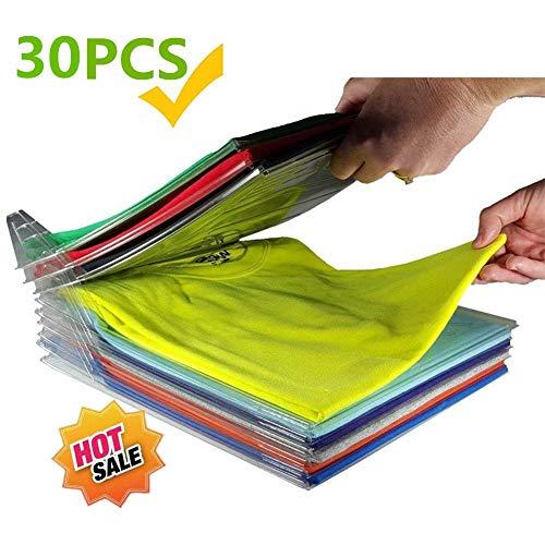 Nifogo Closet Organizer and Shirt Folder, Kleidung Organizer für Schrank oder Schublade | Dateiordner - Normale Größe (Transparent-30Pcs) (Kleider Schrank Organizer)