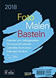 Foto-Malen-Basteln Bastelkalender A5 schwarz 2018: Fotokalender zum Selbstgestalten. Aufstellbarer do-it-yourself Kalender mit festem Fotokarton.