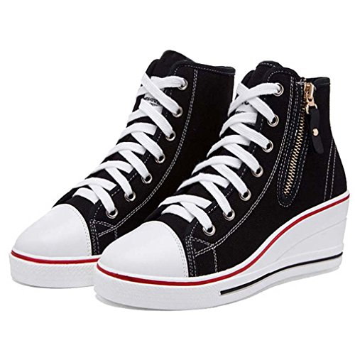Solshine Women's Canvas Solid High Top Wedge Lace Up Sneakers Casual shoes Black