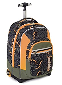 TROLLEY FIT - SEVEN - THUNDER - 2in1 Wheeled Backpack with Disappearing Shoulder Straps - Green Orange 35Lt