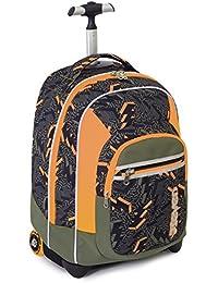 TROLLEY FIT - SEVEN - THUNDER -Mochila con ruedas y correas de hombro ocultables - verde naranja 35Lt