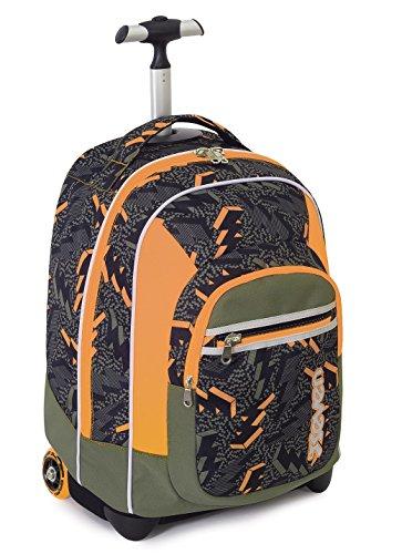 Trolley fit - seven - thunder - 2in1 - zaino con spallacci a scomparsa - verde arancione 35lt