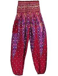 Dihope Femme Sarouel Pantalon Taille Élastique Longue Bouffant Palazzo  Casual Hip-hop Pants pour Yoga 30c258de23a