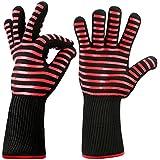 Grillhandschuhe, Hotchy Premium Ofenhandschuhe extrem hitzebeständig bis 500 °C EN407 Beglaubigte Backhandschuhe, Topfhandschuhe, Handschuhe, Kochen Backen Backhandschuhe (1 Paar)