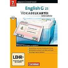 English G 21 - Lernsoftware - Vokabelkarteien interaktiv - zu allen Ausgaben: English G 21 Band 3. 7. Klasse Vokabelkartei interaktiv zu allen Ausgaben