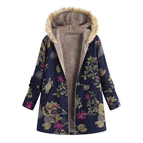 Abrigos Mujer Invierno Chaqueta Suéter Floral Bolsillos
