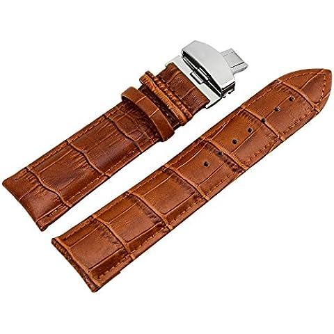 22mm Cinturino per Orologio da Polso unisex da Cambio di Pelle Colore Cachi