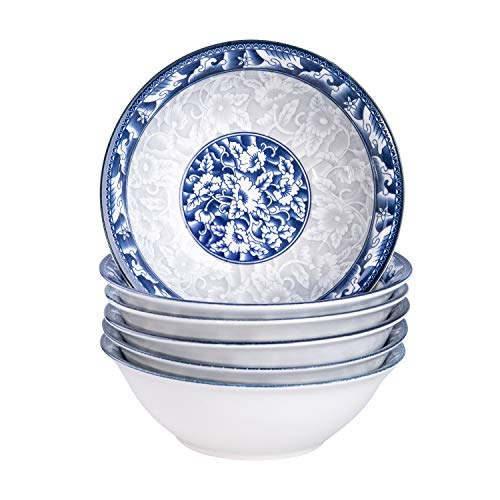 15 Ounce Porcelain Salad/Pasta/Soup Bowls, Set of 6, Assorted Blue and White Patterns, Chinese Style, Deep and Wide (6-Inch)