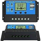 ELEPHANTBOAT® 10A 12V 24V ABS Solar Panel Charger Controller Battery Regulator Dual USB LCD Display (Blue)