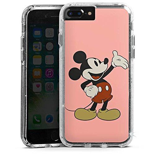 Apple iPhone 7 Plus Bumper Hülle Bumper Case Glitzer Hülle Disney Mickey Mouse Classic Geschenke Merchandise Bumper Case Glitzer silber