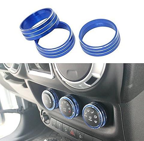 Junyun 3pcs Climatisation Button Coque Décoration Set d'habillage avec pas de vis interne pour Jeep Wrangler JK Jku Compass Patriot 2011–2016