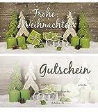 20 Stück Weihnachtsgutschein Gutschein Weihnachten Einkaufsgutschein Text FROHE WEIHNACHTEN doppel-seitig 21 x 10,5 cm DIN lang hell-grün grün weiß grau weihnachtlich Kunden-Gutschein