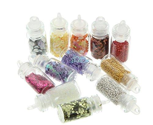EOZY 20 Bouteilles Nail Art Mini Strass Poudre Conseils de Manucure de décoration DIY Décorations de Maquillage Nail Art