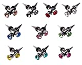 Bundle Monster Titanium Stainless Steel Synthetic Crystal Silver Spike Ear Stud Earrings Faux Taper Jewelry - 10pc Set