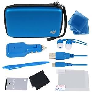 New Nintendo 3DS XL 12-in-1 Travel Pack / Tasche, Etui, Displayschutzfolie, Kfz-Ladegerät:blau (New Nintendo 3DS XL - 2015 /3DS XL)