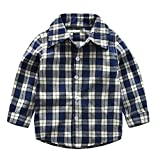 Covermason Babykleidung, Kleinkind Baby Jungen Mädchen Plaid T-Shirts Lange Ärmel Gentleman Oberteile Bluse Kleider (140, Dunkelblau)