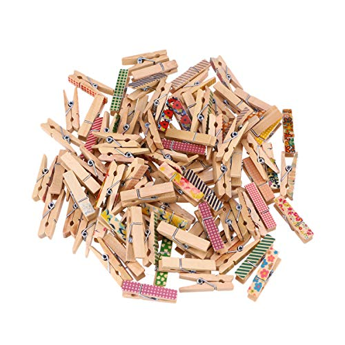 confezione da 50/mini mollette in legno colorate fai da te e decorazioni utilizzabili per appendere foto Monbedos per lavori artigianali