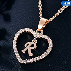 Maverick Gorgeous Alphabet 'R' in Diamond Heart Pendant & Chain Double Locket Initial Letter Inside Heart; Necklace Gift for Girls Women On Birthday Anniversary Valentine Occasions (Gold)