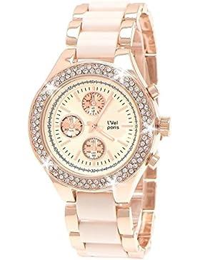 L'Vel Paris by NY London Designer Damenuhr,Exclusive Damen Strass Uhr in Chronograph Optik,Beige,Rose Gold,inkl.Uhrenbox...
