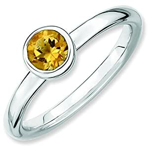 Sterling Silver Stackable Expressions Low 5mm Round Citrine Ring - Size J 1/2
