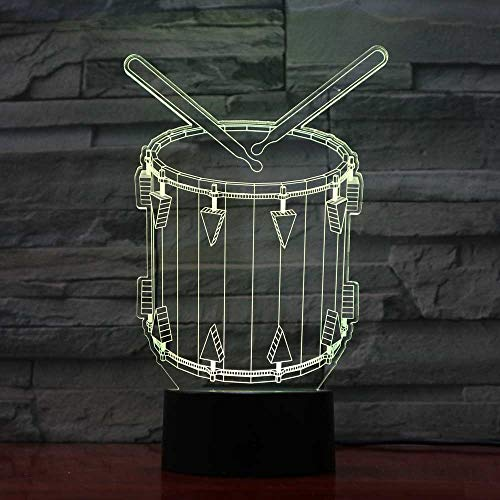 BFMBCHDJ Drum 3D Illusion Night Light 7 Color cambiante Touch Table Lámparas de escritorio Acrílico...